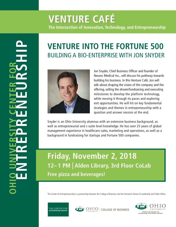 Jon Snyder Venture Cafe Flier rev
